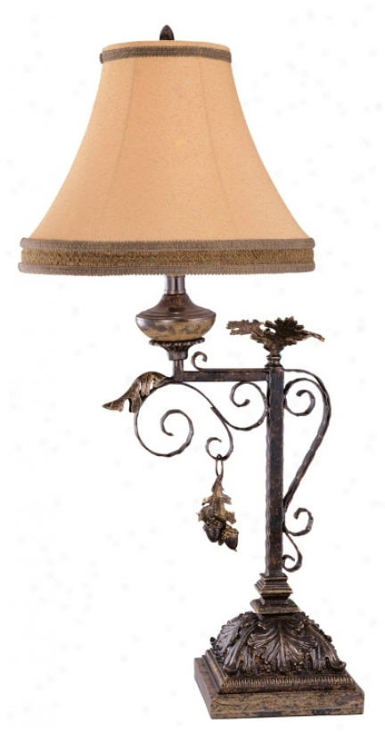 Grand West Autumn Oak Leaves Table Lamp (35416)