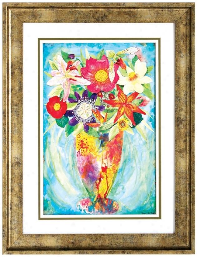 """Grandes Brushed Gold Frame 26"""" High Flower Wall Art (v6608)"""