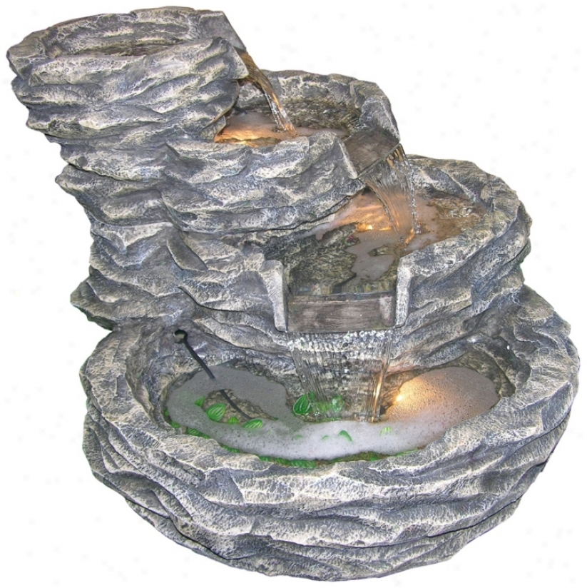 "Gray Rock Cascade 22"" High Lighted Fountain (j3500)"