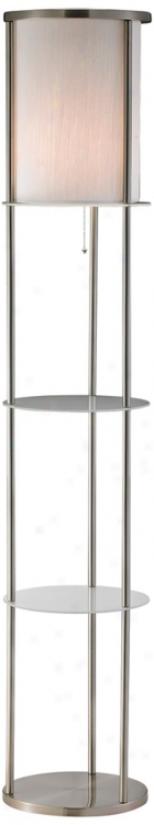 Grayling Satin Stel Shelf Floor Lamp (r4598)