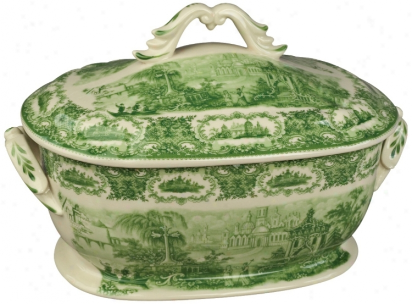 "Green And White Porcelain 14"" Wide Tureen (r3287)"