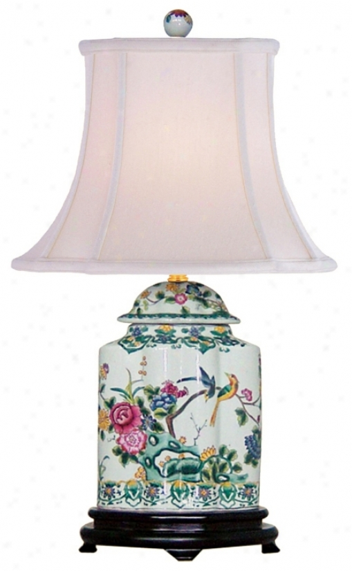 Green Floral Porcelain Sfalloped Tea Jar Table Lamp (j4927)