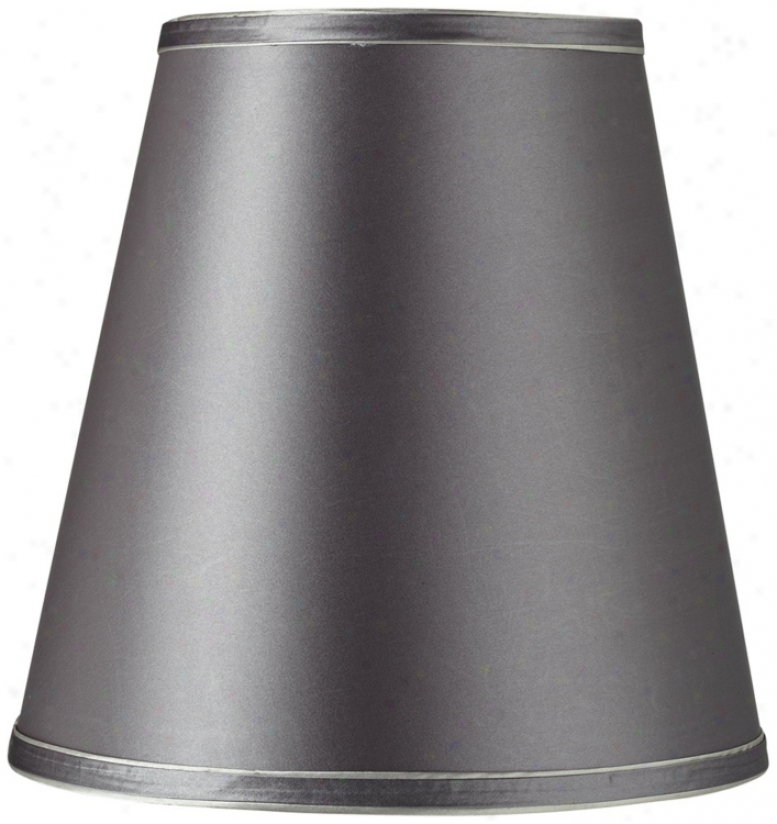 Grey Fabric And Double Piping Drum Shade 7x11x11 (spider) (t8218)