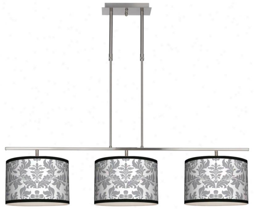 "Grey Flourish 46"" Wide Bar Hanging 3 Drum Island Light (m3236-m8893)"