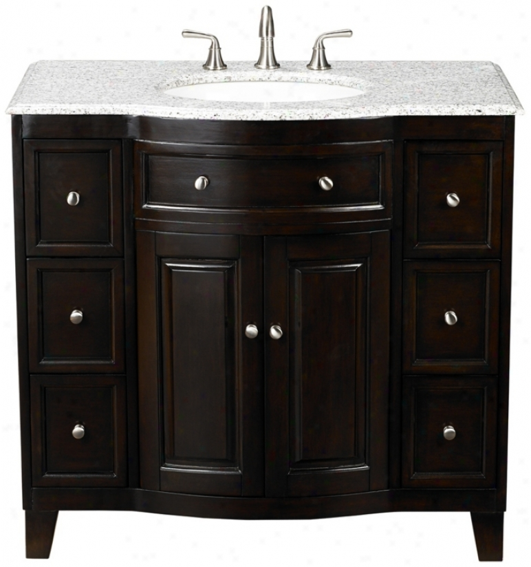 "Grey Marble Top Ignorance Espresso 37"" Wide Single Sink Vanity (t9146)"