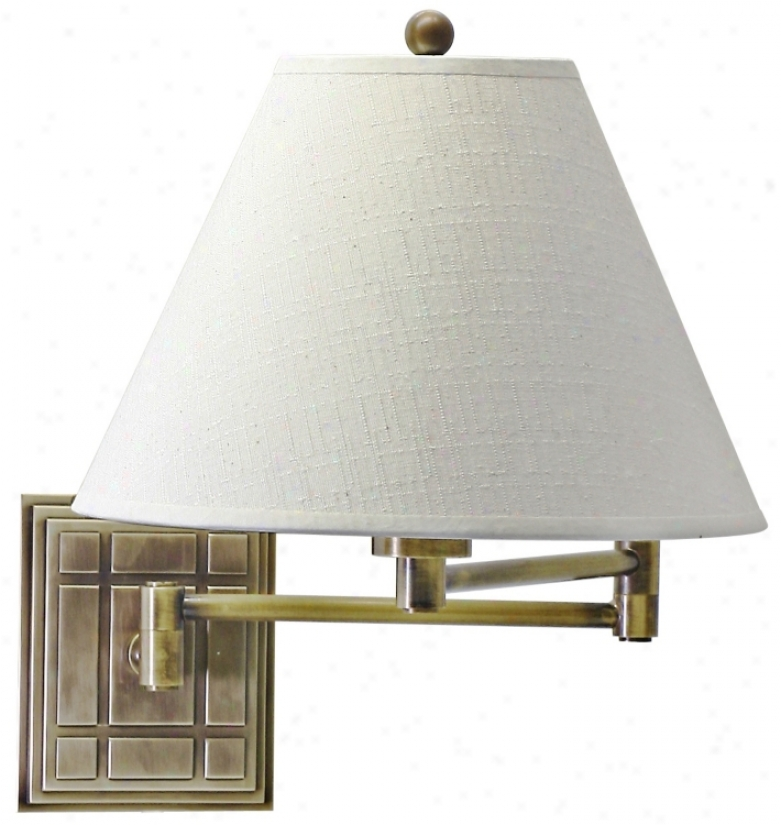 Grid Panel Antique Brass Finish Plug-in Swing Arm Wall Lamp (40696)