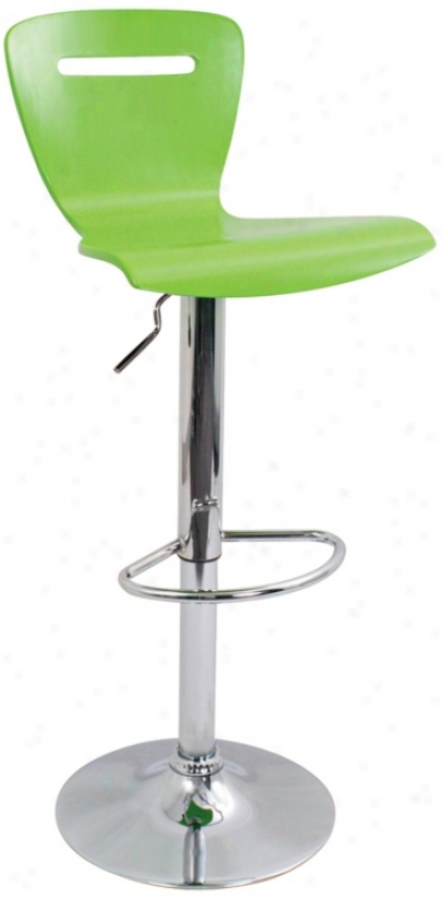 H2 Green Adjustable Bar Or Counter Stool (p5357)