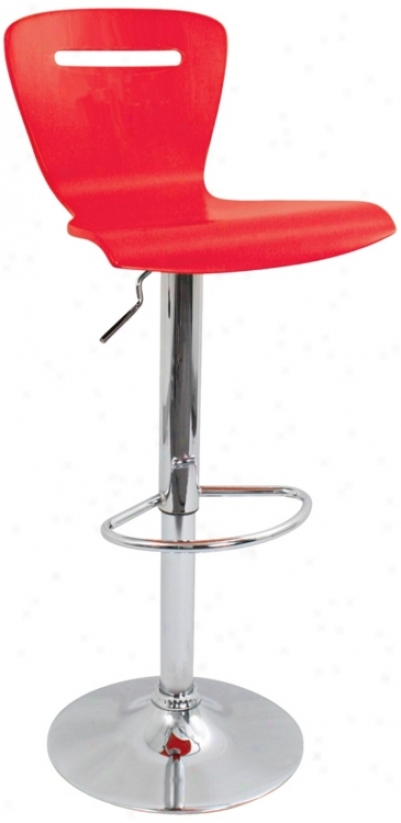 H2 Red Adjustable Bar Or Counter Stool (p5359)