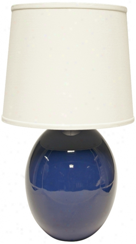 Haeger Potteries Blue Ceramic Egg Table Lamp (u4987)