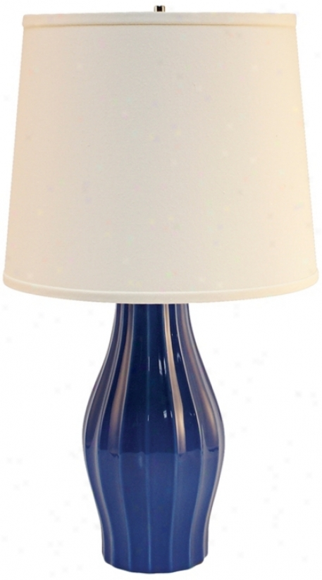 Haeger Potteriex Blue Fluted Ceramictable Lamp (p2035)