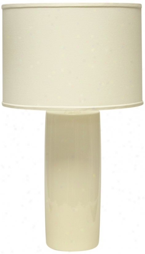 Hqeger Potteries Cylinder Ivory Table Lamp (u4998)
