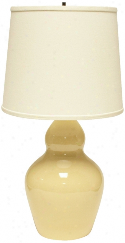 Haeger Potteries Double Gourd Saffron Ceramic Table Lamp (u5536)