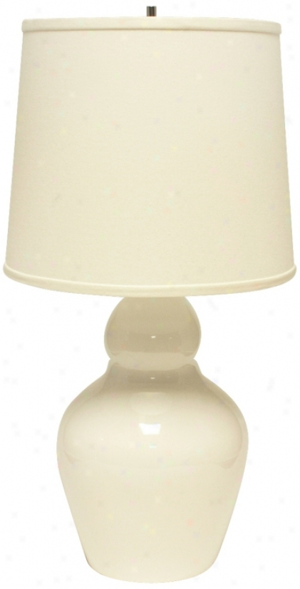 Haeger Potteries Double Gourd White Ceramic Table Lamp (u5535)