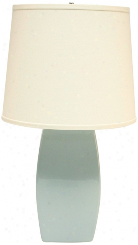 Haaegsr Potteries Mist Ceramic Soft Rectangle Table Lamp (p1880)