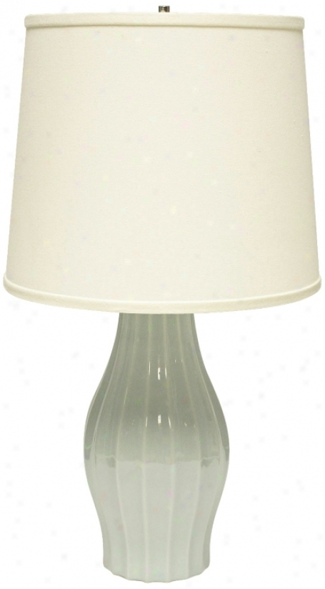 Hzeger Potteries Mist Fluted Ceramic Tanle Lamp (u4966)