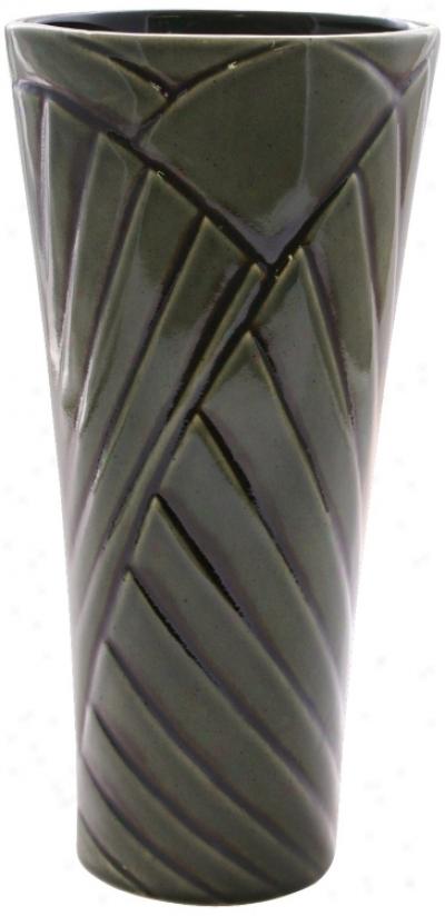 "Haeger Potteries Palm Wood 14"" High Ceramic Vase (j9257)"