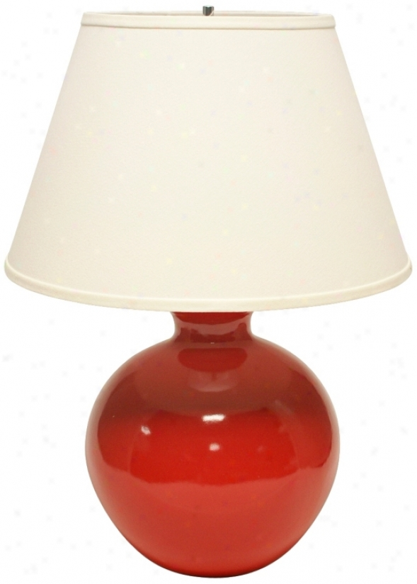 Haeger Potteries Red Bristol Large Ceramic Table Lamp (u5012)