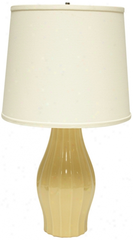 Haeger Potteries Saffron Grooved Ceramic Table Lamp (u4964)