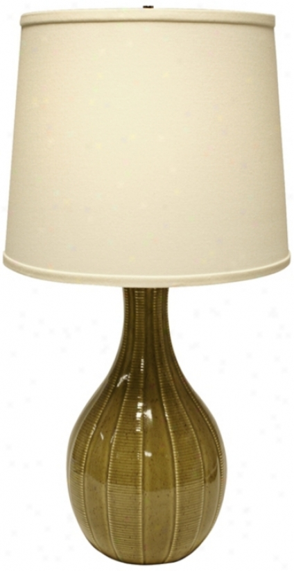 Haeger Potteries Sage Ceramic Tile Table Lamp (u4982)