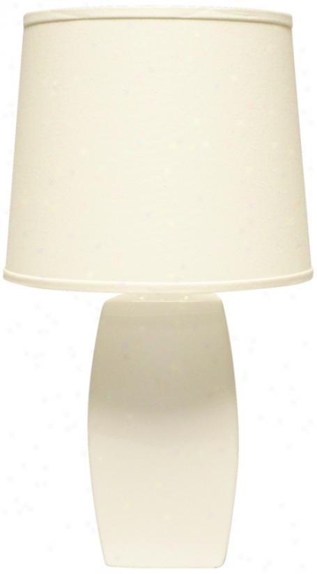 Haeger Potteries White Ceramic Soft Rectangle Table Lamp (p1878)