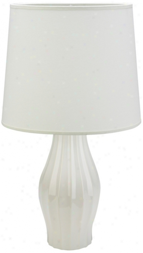 Haeger Potteries White Grooved  Ceramic Table Lamp (36702)
