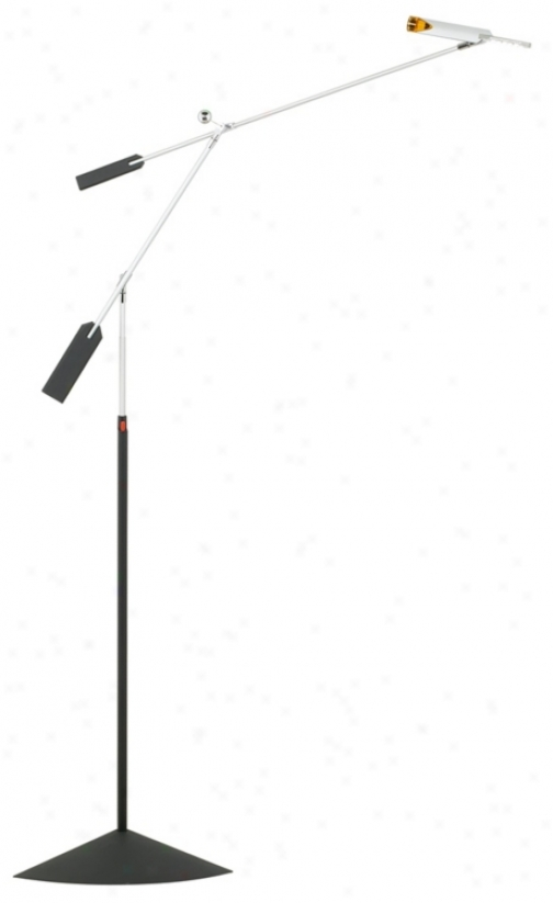 Halley Led Silver And Black Adjustable Fpoor Lamp (k7466)