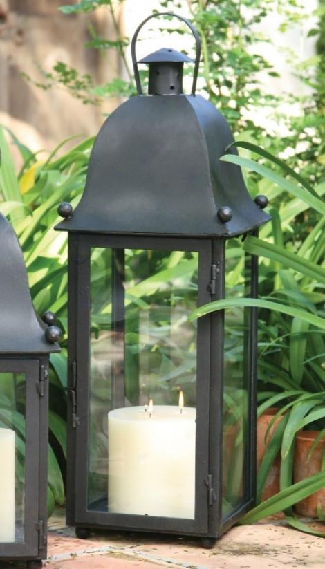Hand-forged Iron Gtande San Juan Lantern With Black Finish (u7351)