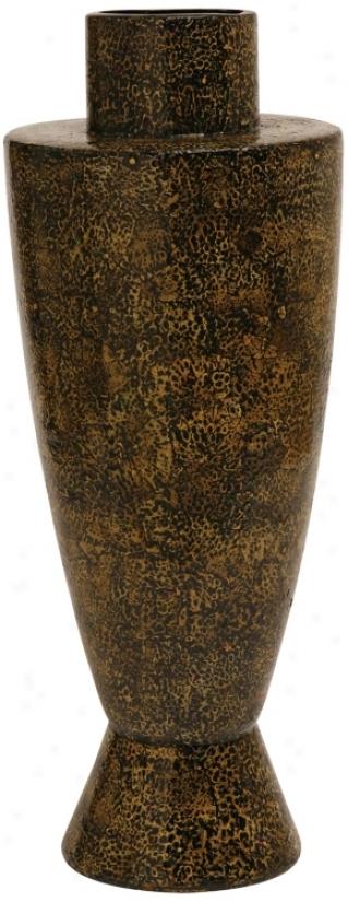 Hand-paihted Ebony And Gold Ceramic Vase (h8683)