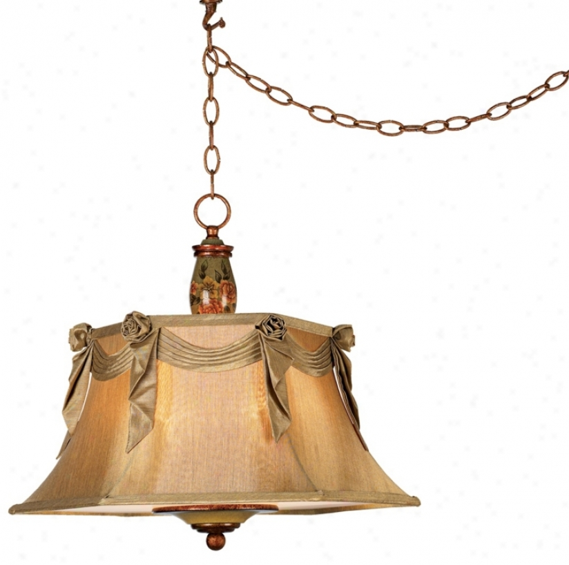 Hand Painted Floral Plug-in Style Swag Pendant Light (15610)