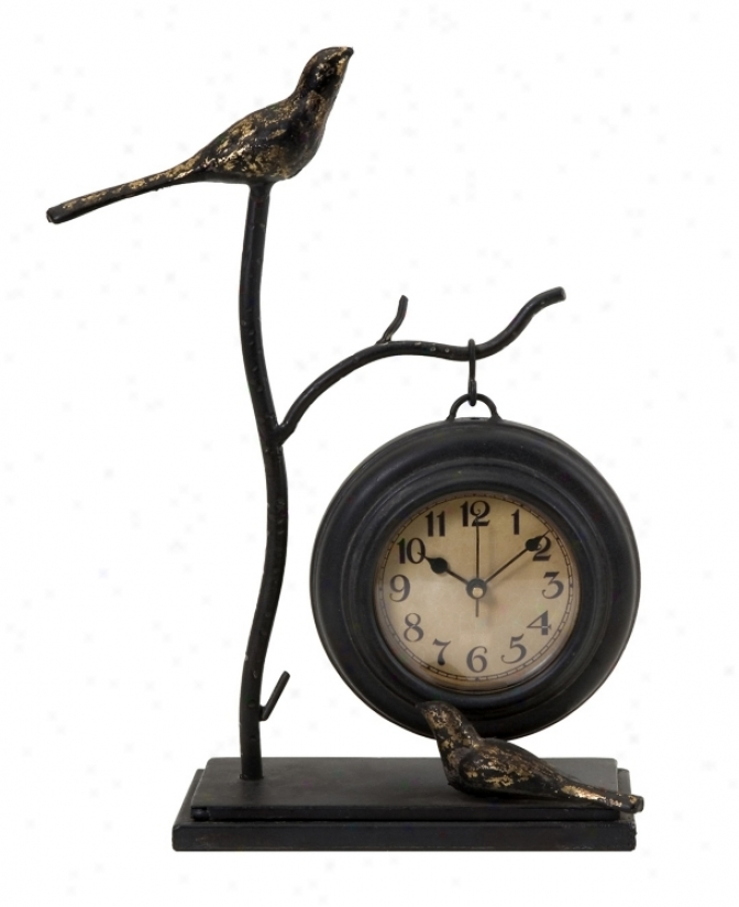 "Hanging 11 3/4"" Richly Clock W/ Birds And Branch (n8499)"