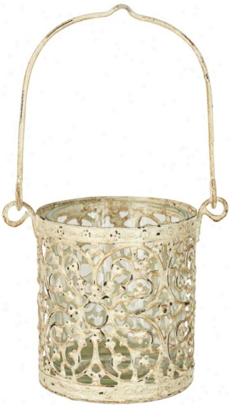 Hanging Ivory Metal Tealight Or Votive Candle Holder (t8877)
