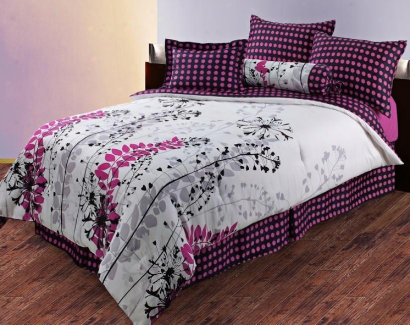 Harvest 3-piec Pink Polka Dot Comforter Set (v3235)