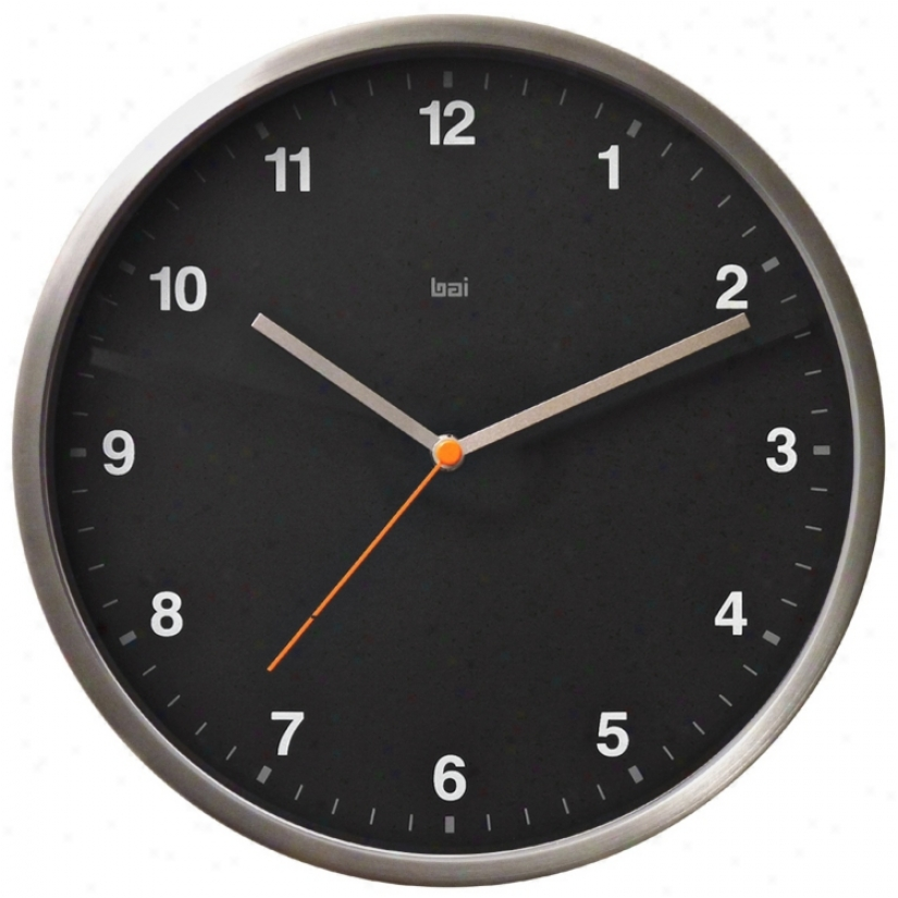 "Helio 6"" Wide Black Modern Wall Clock (v5317)"