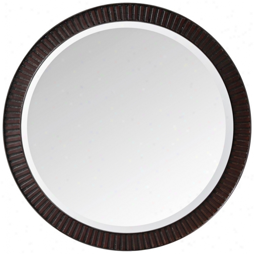 "Hemet Dark Walnut 25"" Wide Round Wall Mirror (r8960)"