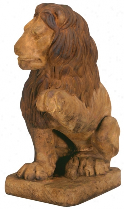 Henri Studios Lion (left Paw Up) Garden Sculpture (30687)