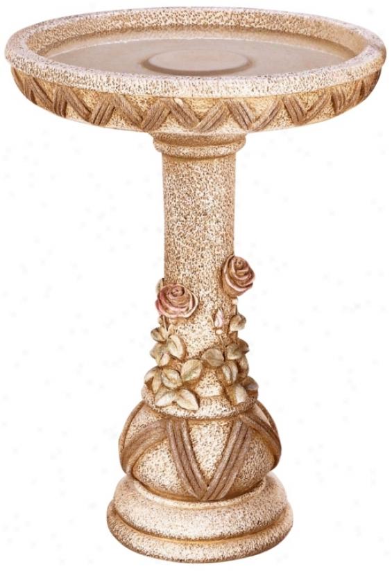 Henri Studios Tudor Weave Cast Stone Bird Bath (22237)