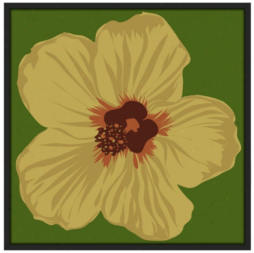 "Hibiscus 37"" Square Black Giclee Wall Practical knowledge (n7117)"