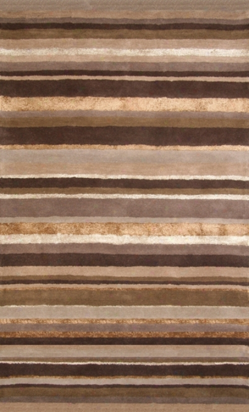 Hickory Brown Stripes Wool 8'x10' Area Rug (57O97)