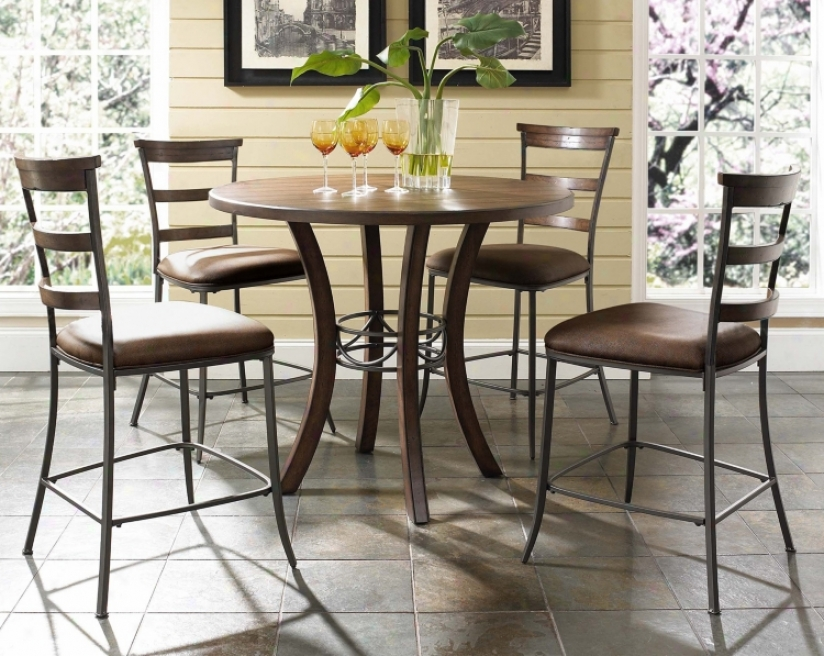 Hillsdale Cameron Ladder Round Reckoner Height Dining Set (v9829)