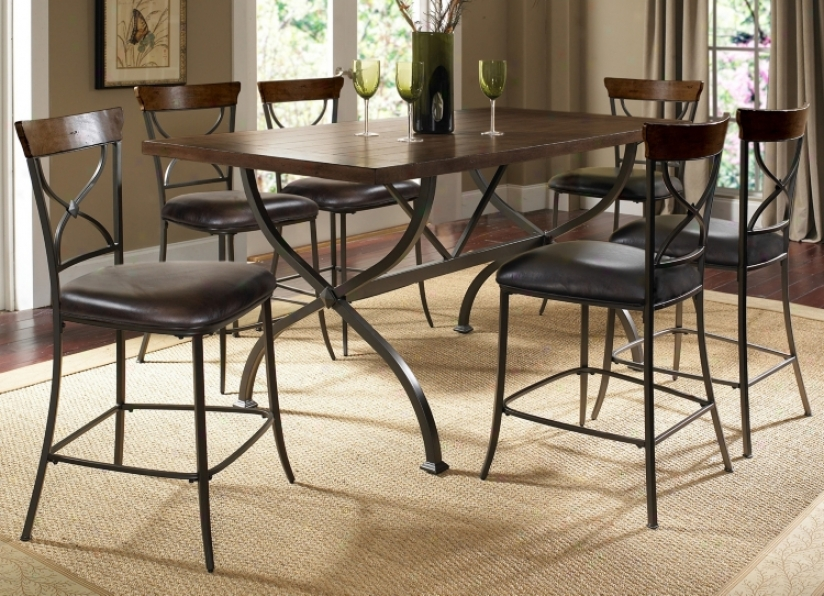 Hillsdale Cameron X-back 7-piece Couter Height Dining Set (v9834)