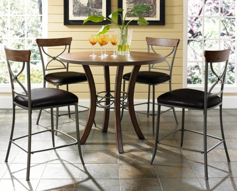 Hillsdale Cameron X-back Round Counter Height Dining Set (v9827)