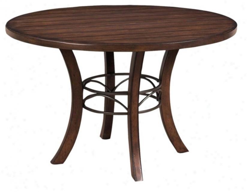 Hillsdale Charleston Desert Tan Round Wood Dining Table (v9855)