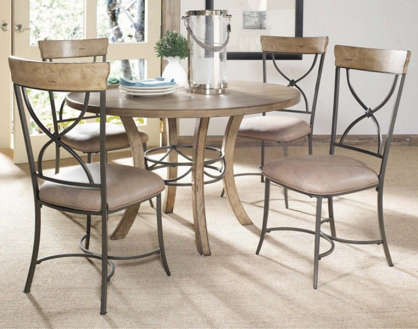 Hillsdale Charleston Plump And X-back Metal Dining Set Of 5 (v9843)