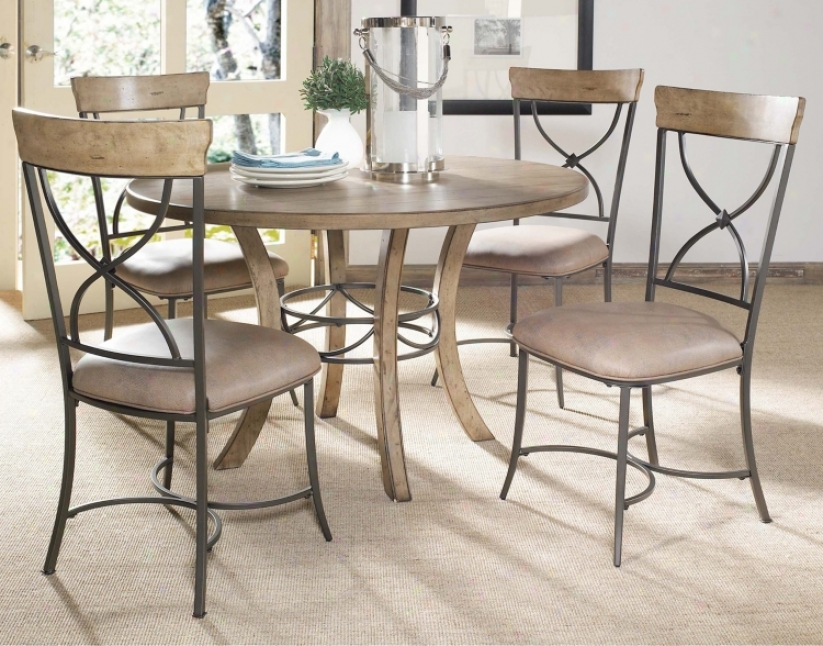 Hillsdale Charleston Round And X-back Wood Dining Set Of 5 (v9852)