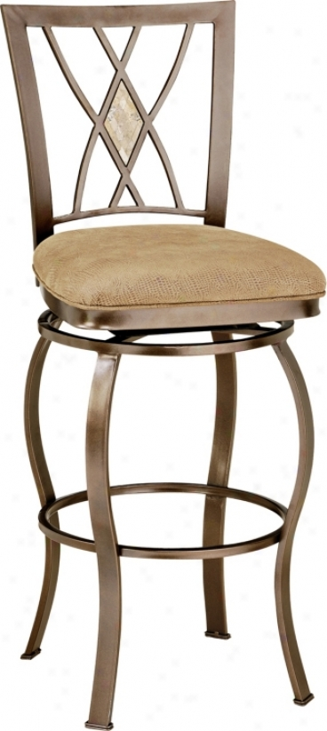 "Hillsdale Diamond Fossil Back Swivel 30"" High Hinder Stool (f1764)"