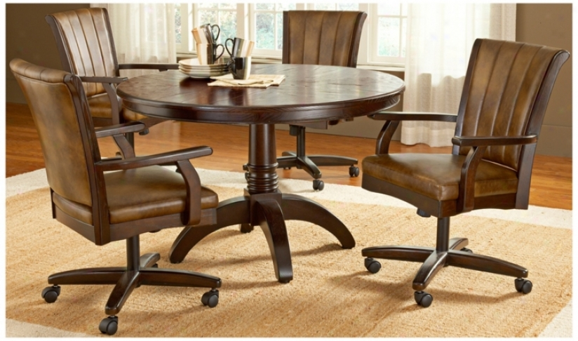 Hillsdale Magnificent Bay Round With Casters 5 Piece Dining Set (t5516)