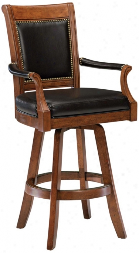 "Hillsdale Kingston Game Swivel Leather 30"" High Bar Stool (n2899)"