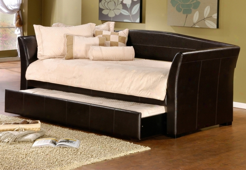 Hillsdale Montgomery Brown Faux Leather Trundle Daybed (v9658)