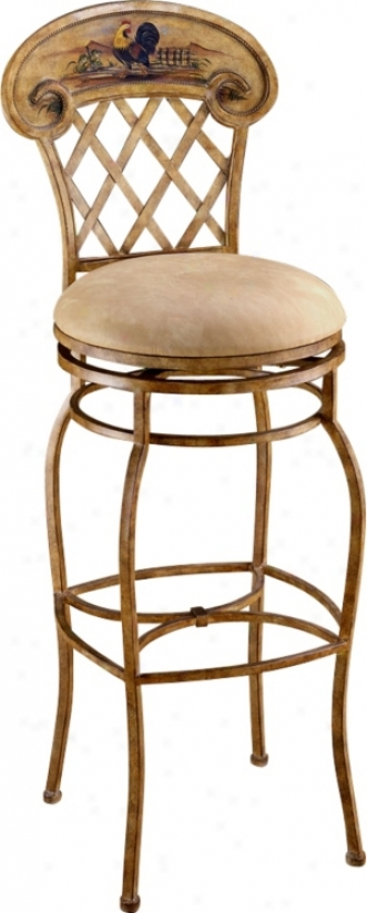 "Hillsdale Rooster Hand-painted 31 1/2"" High Swivel Bar Stool (f1743)"