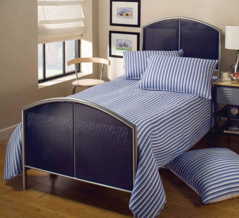 Hillsdake Universal Mesh Silver And Navy Bed (twin) (t43888)